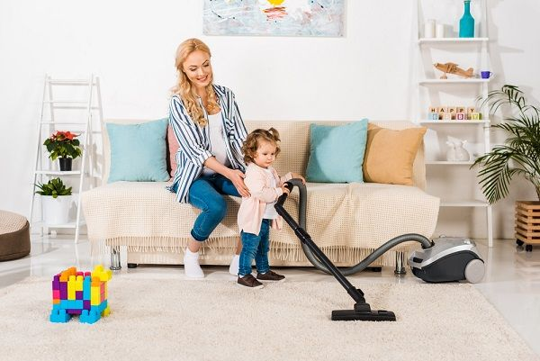 clean home with a vacuum cleaner